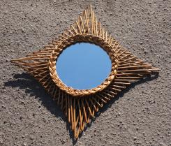 Miroir rotin vintage carré, années 60