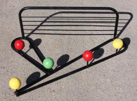 Patère vintage, 5 boules couleur, années 50