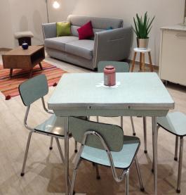 table formica, cerclage aluminium, années 50