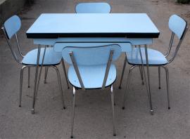 Table formica bleu pieds eiffel, 1950, EFJI