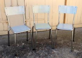 chaises formica contour inox, formica bleu pâle