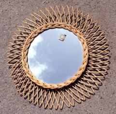 "miroir soleil ""rond"", années 60, en rotin tressé"