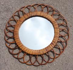 Miroir soleil fleur vintage années 60 rotin