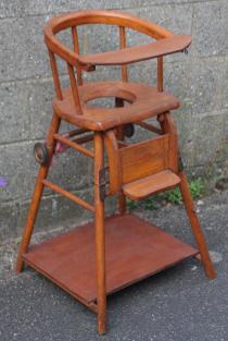 Chaise haute bébé, art déco, 1930
