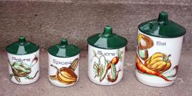 série de pots à condiments vintage