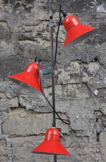 Lampadaire 3 spots, rouge, années 70