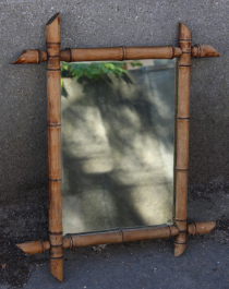 Miroir bambou vintage, années 60