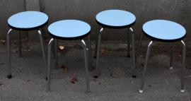 Tabourets rond en formica bleu, vintage