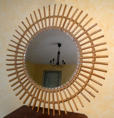 miroir vintage rotin, années 60