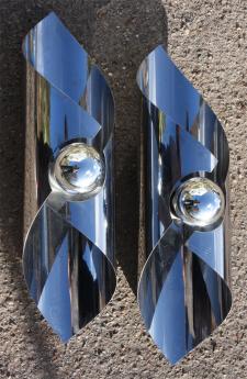 appliques UFO, space age, grand modèle, aluminium, 1970