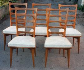 Chaises salle à manger  vintage bois skaï années 50