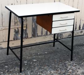 bureau formica vintage, années 60, blanc