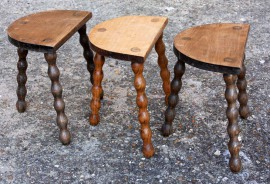 Porte pots vintage, tripode, bois, artisanat, selette