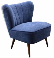 Fauteuil cocktail, tissu bleu jean, années 50