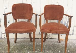 Paire de fauteuils bridge velours 1940
