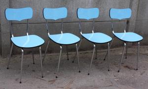 Chaises formica bleu, années 60, marque MDJ