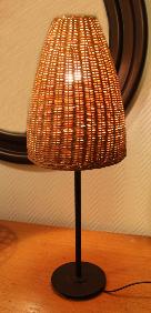 lampe à poser rotin, métal