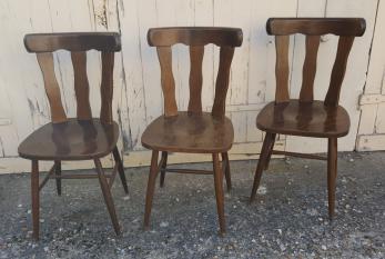4 chaises de bistrot, années 50, bois massif