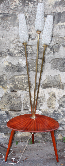 Lampadaire tripode, vintage, 3 feux, 1950