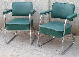 Fauteuil bureau métal et skaï, années 50