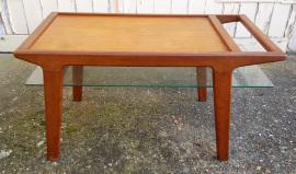 table basse vintage verre et bois design scandinave