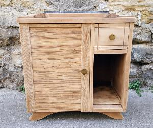 Meuble bois, chevet, mini-bar, meuble d'appoint, 1950