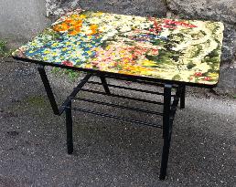 Table basse, porte revues, formica, vintage, années 50