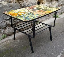 table basse formica, thème floral, années 50