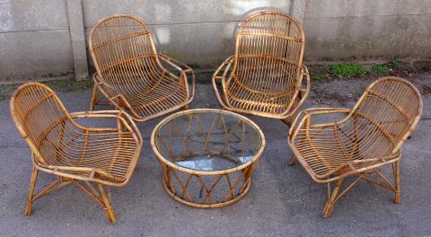 salon de jardin bambou et rotin tressé, vintage, années 60