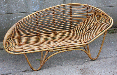méridienne bambou de salon de jardin, vintage, années 60
