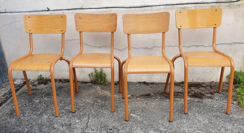 ensemble de 4 chaises vintage bois et métal