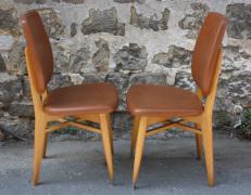 chaises bois et skaï, vintage années 50