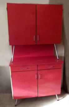 Buffet haut formica rouge, vintage, années 60