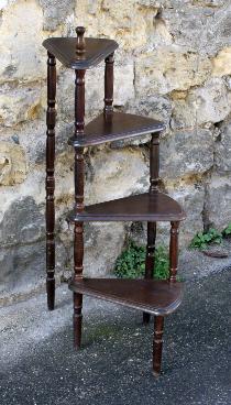 porte pots escalier colimaçon bois, vintage, années 50