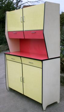Buffet formica vintage, jaune et rouge, années 60