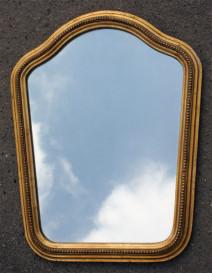 """Miroir ancien, doré à la feuille, """"chapeau de gendarme"""", XIXème.s, Louis Philippe"""