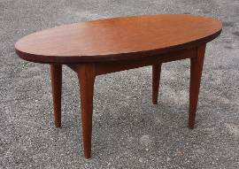 Table basse scandinave, en bois, ovale, vintage
