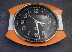 Pendule vintage Japy, années 50 / 60, formica orange