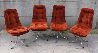 Chaises fauteuils velours 1970, pieds chromés