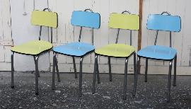 4 chaises formica bleues et jaune, vintage