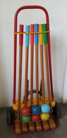 Jeux croquet en bois vintage, 6 joueurs, années 50