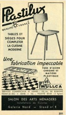 Chaises Plastilux, Mullca, années 50
