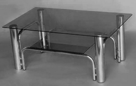 table basse 1970, chrome et verre fumé