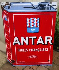 Plaque émaillée Antar, huiles françaises