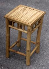 Tabouret carré, en bambou, vintage