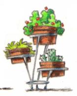 tabourets tripode en tronc d'arbre, porte pot