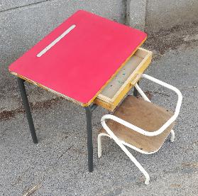 Bureau formica années 50, chaise Jacques Hitier vintage
