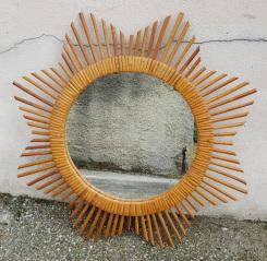 Miroir soleil rotin vintage