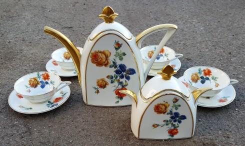 Service à café Limoges, forme fleur de lys, Art Déco