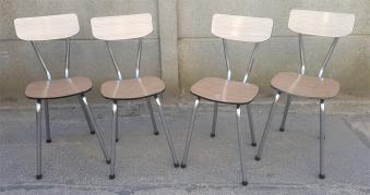 5 chaises formica rouge vintage années 60